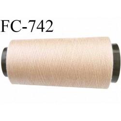 Cone 1000 m fil mousse polyester n°160 couleur chair ou beige clair longueur 1000 mètres bobiné en France