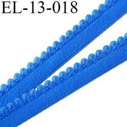Elastique picot 13 mm bretelle et lingerie doux et forte élasticité couleur bleu lumineux largeur  13 mm  prix au mètre