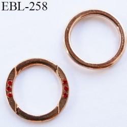 anneau métallique 8 mm couleur cuivre avec incrustation style rubis pour soutien gorge diamètre intérieur 11 mm prix à la pcs