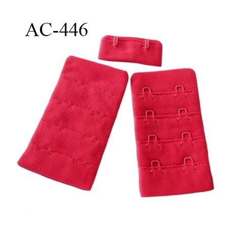 Agrafe attache 38 mm de soutien gorge 4 rangées 2 crochets largeur 38 mm hauteur 68 mm couleur rouge groseille