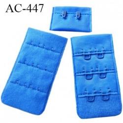 Agrafe attache 30 mm  de soutien gorge 3 rangées 2 crochets largeur 30 mm hauteur 55 mm couleur  bleu lumineux