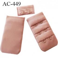 Agrafe attache 30 mm  de soutien gorge 3 rangées 2 crochets largeur 30 mm hauteur 55 mm couleur bois rosé