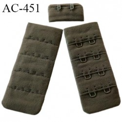 Agrafe attache 30 mm  de soutien gorge 4 rangées 2 crochets largeur 30 mm hauteur 68 mm couleur marron kaki