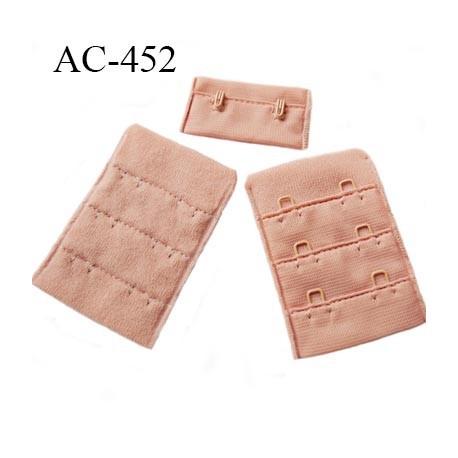 Agrafe attache 38 mm  de soutien gorge 3 rangées 2 crochets largeur 38 mm hauteur 55 mm couleur bois rosé