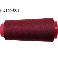 Destockage cone de 2000 m de fil fin mousse polyester n° 165 couleur bordeaux longueur du cône 2000 mètres bobiné en France