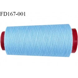 Destockage cone de 2000 m de fil fin mousse polyester n° 165 couleur bleu ciel longueur du cône 2000 mètres bobiné en France