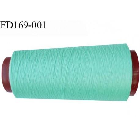 Destockage cone de 2000 m de fil fin mousse polyester n° 165 couleur vert lagon longueur du cône 2000 mètres bobiné en France