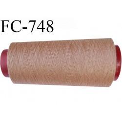 Cone de  fil 2000 m polyester fil n° 120 couleur marron clair longueur 2000 mètres bobiné en  France