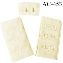 Agrafe attache 30 mm  de soutien gorge 3 rangées 2 crochets haut de gamme largeur 30 mm hauteur 55 mm couleur ivoire ou vanille
