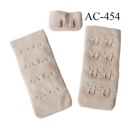 Agrafe attache 30 mm  de soutien gorge 4 rangées 2 crochets largeur 30 mm hauteur 68 mm couleur chair rosé