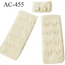 Agrafe attache 30 mm  de soutien gorge 4 rangées 2 crochets largeur 30 mm hauteur 68 mm couleur savane ou crème