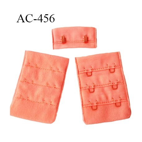 Agrafe attache 38 mm  de soutien gorge 3 rangées 2 crochets largeur 38 mm hauteur 55 mm couleur saumon corail