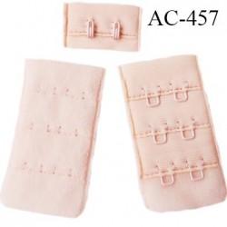 Agrafe attache 30 mm  de soutien gorge 3 rangées 2 crochets haut de gamme largeur 30 mm hauteur 55 mm couleur rose pale