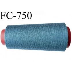 Cone de 1000 m fil polyester n° 120 couleur bleu longueur de 1000 mètres bobiné en France