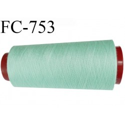 Cone de 1000 m fil polyester n° 120 couleur vert lagon longueur de 1000 mètres bobiné en France
