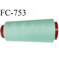 Cone de 5000 m fil polyester n° 120 couleur vert lagon longueur de 5000 mètres bobiné en France