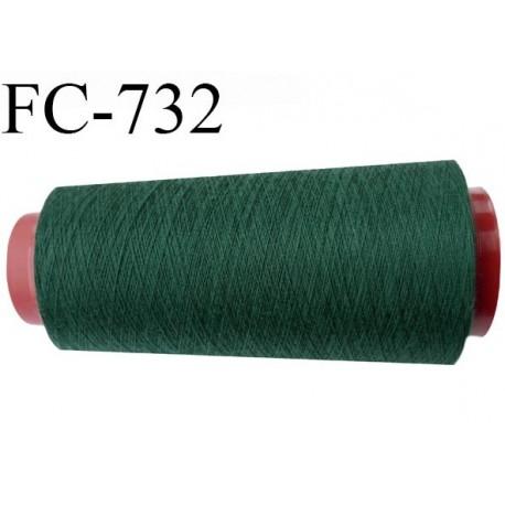 Cone de fil  2000 mètres  polyester fil n° 50 couleur vert longueur 2000 mètres bobiné en  France
