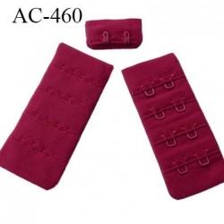 Agrafe attache 30 mm  de soutien gorge 4 rangées 2 crochets largeur 30 mm hauteur 68 mm couleur bordeaux ou lie de vin