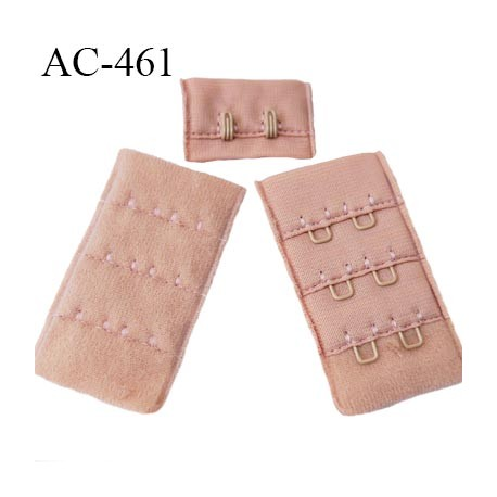 Agrafe attache 30 mm  de soutien gorge 3 rangées 2 crochets haut de gamme largeur 30 mm hauteur 55 mm couleur vieux rose