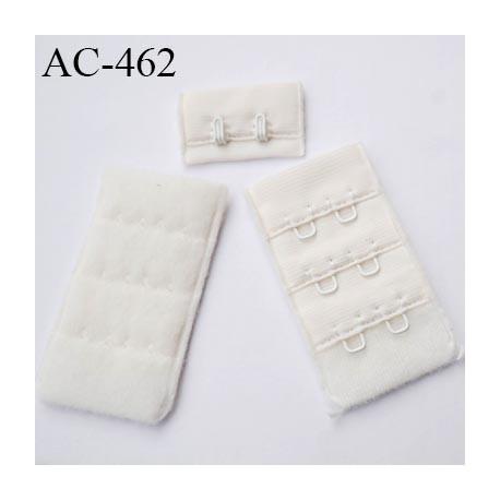 Agrafe attache 30 mm  de soutien gorge 3 rangées 2 crochets haut de gamme largeur 30 mm hauteur 55 mm couleur chantilly
