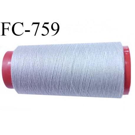 Cone de 2000 m fil polyester fil n° 100 couleur gris longueur de 2000 mètres bobiné en France