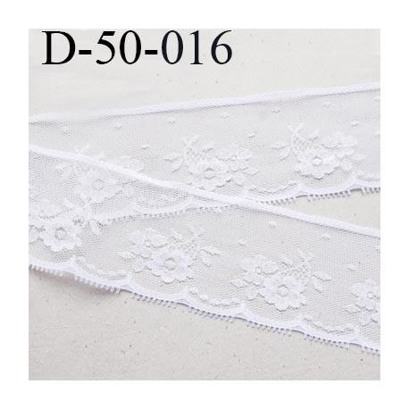 Dentelle 50 mm synthétique  blanc motif fleur largeur 50 mm prix au mètre