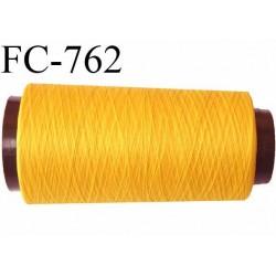 Cone 2000 m fil mousse polyamide n°120 couleur jaune lumineux longueur du cone 2000 mètres  bobiné en France