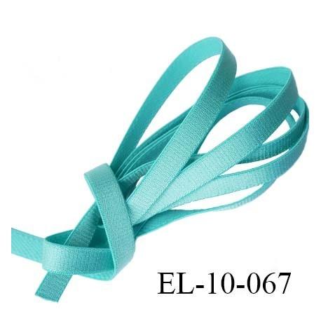 Elastique  10 mm plat lingerie couleur bleu vert  brillant superbe  très belle qualité haut de gamme prix au mètre