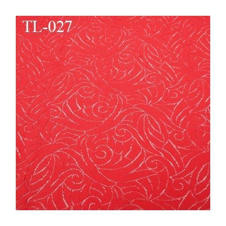 Tissu lingerie couleur rouge coraillé très haut de gamme tissu ajouré  largeur 150 cm prix pour 10 centimètres de longueur