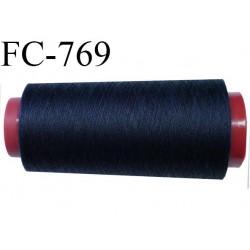Cone de 2000 m fil polyester fil n° 100 couleur bleu marine longueur de 2000 mètres bobiné en France