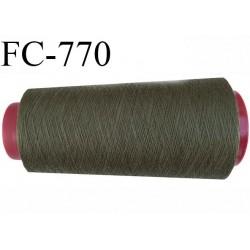 Cone de 1000 m fil polyester fil n° 100 couleur vert kaki longueur de 1000 mètres bobiné en France