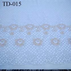Dentelle largeur 45 cm  très haut de gamme largeur 45 centimètres couleur gris et fleurs chair doré très belle prix pour 10 cm