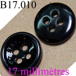 bouton 17 mm  couleur noir brillant  inscription sessun 4 trous  diamètre 17 millimètres