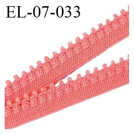 élastique lingerie picot 7 mm + 2 mm picot couleur corail grande marque fabriqué en France largeur 7 mm  prix au mètre