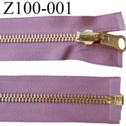 fermeture zip longueur 100 cm couleur vieux rose séparable réversible largeur 3,2 cm largeur de la glissière métal 6 mm