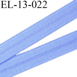 Elastique pré plié 13 mm  lingerie couleur  bleu chardon grande marque fabriqué en France  largeur 13 mm prix au mètre