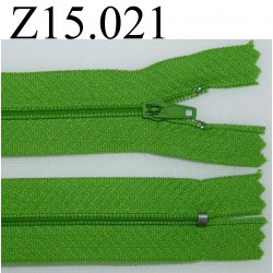 fermeture éclair longueur 15 cm couleur vert zip nylon