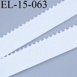 élastique picot lingerie 15 mm couleur blanc grande marque fabriqué en France largeur 15 mm + 2 mm de picot prix au mètre