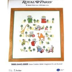 kit à broder Royal Paris abécédaire BABAR  format terminé  35 x 45 cm