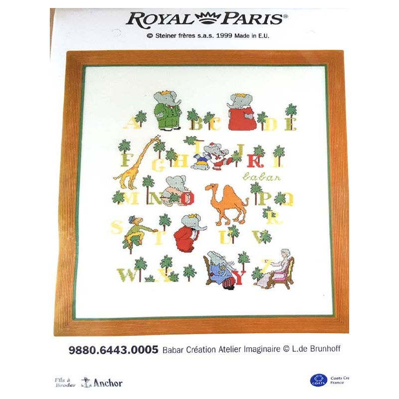 Kit A Broder Royal Paris Abecedaire Babar Format Termine 35 X 45 Cm Mercerie Extra