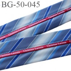 galon ruban 50 mm ganse rehausse ceinture CHRISTIAN LACROIX couleur bleu gris blanc et rouge haut de gamme prix au mètre
