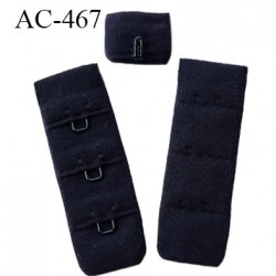 Agrafe attache 20 mm de soutien gorge 3 rangés 1 crochets largeur 20 mm hauteur 55 mm couleur noir