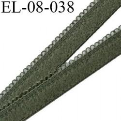 élastique 8 mm + 2 mm  picot  aspect velours spécial lingerie de marque fabriqué en France couleur kaki clair prix au mètre