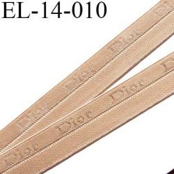 élastique 14 mm pré plié couleur chair clair inscription Dior haut de gamme très doux largeur 14 mm très joli prix au mètre