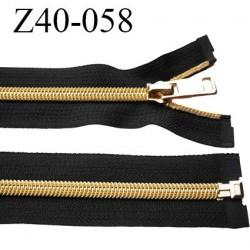 fermeture zip 40 cm noir séparable avec glissière nylon or largeur 3.3 cm largeur de la glissière 6 mm