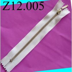 fermeture  éclair longueur 12 cm couleur blanc zip métal