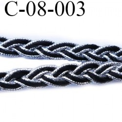 cordon tresse galon plat largeur 8 mm épaisseur 2.3 mm couleur noir et argent brillant style lurex  prix au mètre