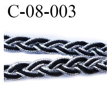 cordon tresse galon plat largeur 8 mm épaisseur 2.3 mm couleur noir et argent style lurex  prix au mètre
