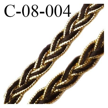 cordon tresse galon plat largeur 8 mm épaisseur 2.3 mm couleur noir et or brillant style lurex  prix au mètre