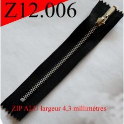 fermeture éclair longueur 12 cm couleur noir non séparable zip métal largeur 2.5 cm